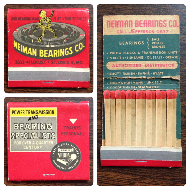 Neiman Bearings Matchbooks Cover