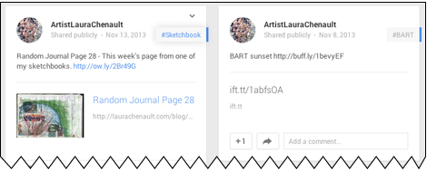 RSS feed with HootSuite (left) compared to IFTTT (right)