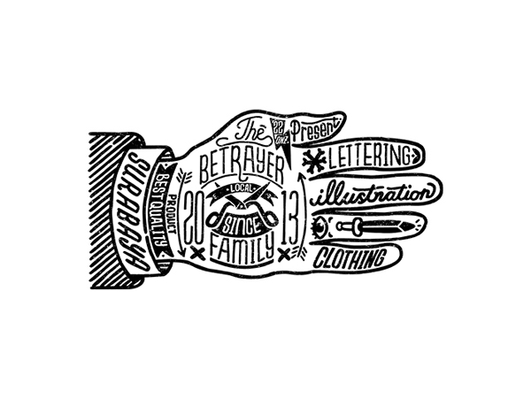 Illustrated hand branding for The Betrayer Family