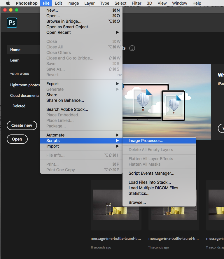 Step five of how to process photos. Screen shot selecting image processor in Photoshop menus.