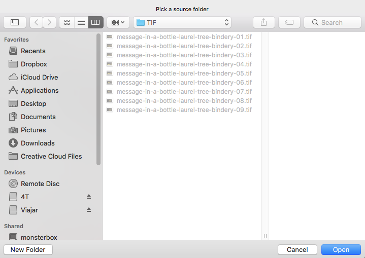 Step six of how to process photos. Screenshot choosing the TIFF folder in Photoshop.