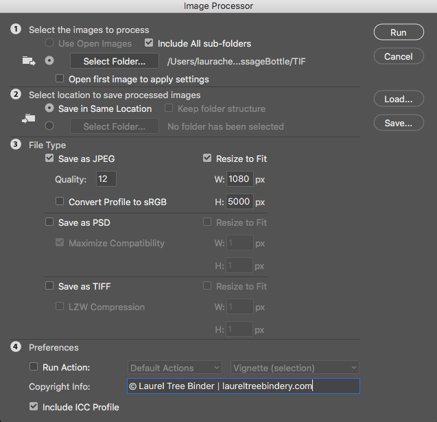 Step seven of how to process photos. Screen shot of the image processing options in Photoshop.