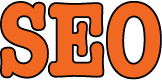A graphic feautring the letters SEO in orange.
